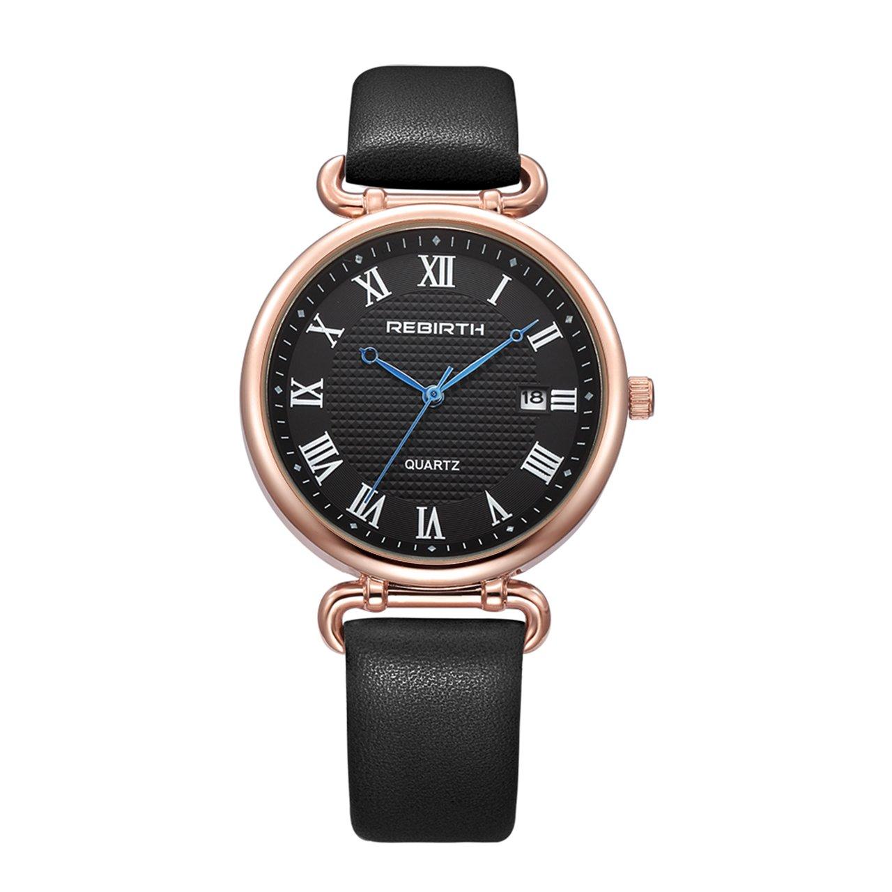 Top Plaza Women Elegant Simple Rose Gold Tone Bracelet Watch Japanese Movement Roman Numerals PU Leather Waterproof Analog Quartz Watch(Black #2)