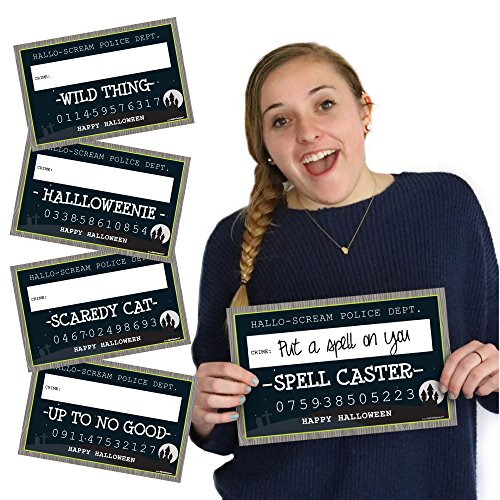 Big Dot of Happiness Trick or Treat - Halloween Party Mug Shots - 20 Piece Photo Booth Props Kit -