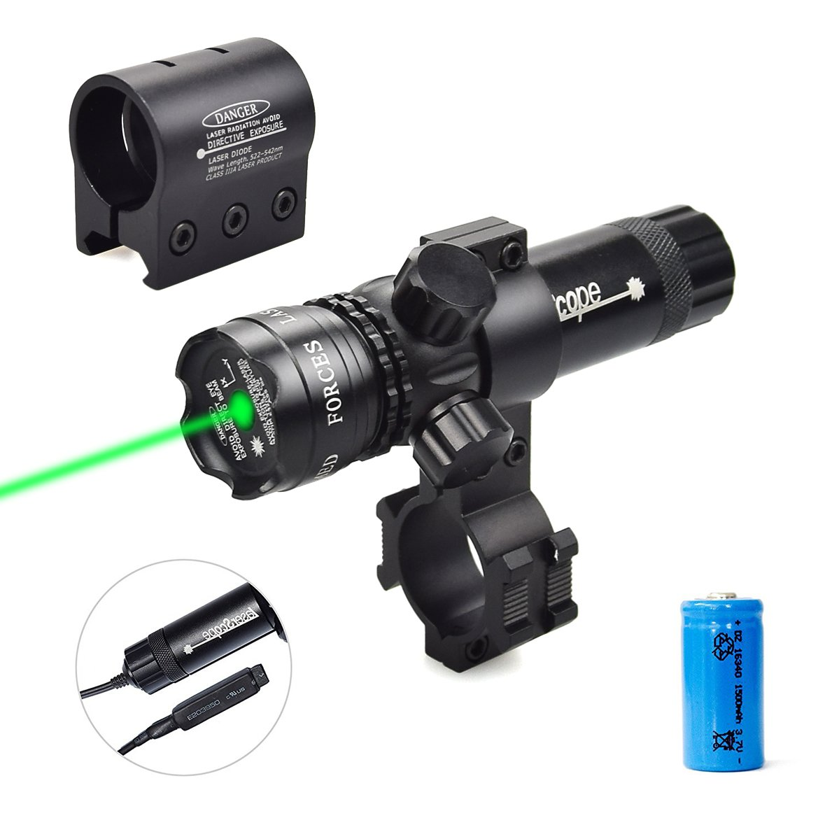 Twod Gun Sight Laser Green Dot 532nm Rifle Scope with 20mm Picatinny Mount & 1'' Ring Mount Adapter, Remote Pressure Switch