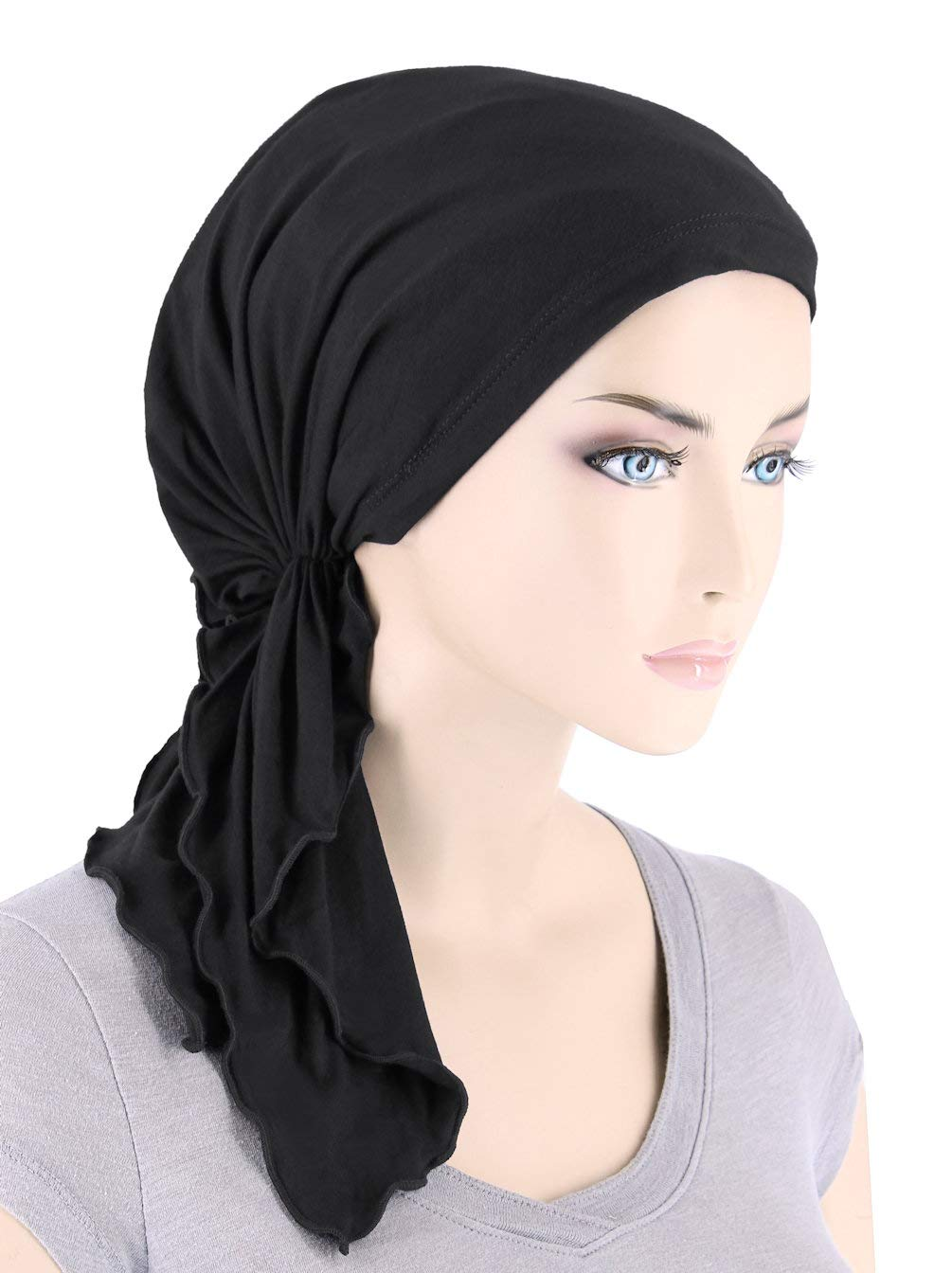 The Bella Scarf Lux Ultra Soft Bamboo Chemo Cancer Turban Head Scarves Pre-Tied Onyx Black by Turban Plus (Image #1)