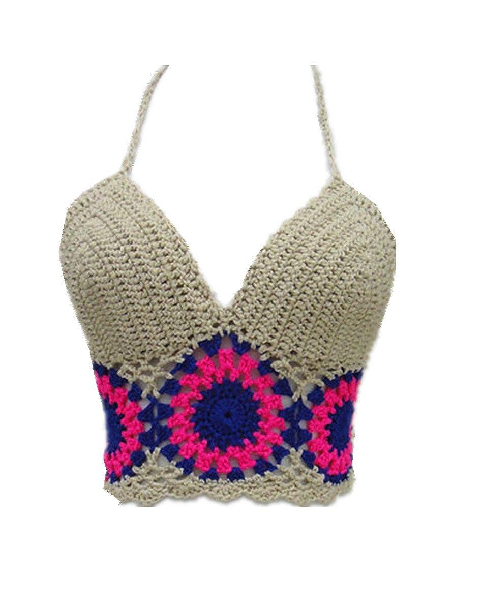 484fe055c850a Amazon.com  tinacrochetstudio Black Bikini Halter Top Handmade Crochet Crop  Top (Beige