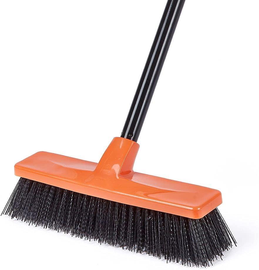 Push Broom Extendable Telescoping Outdoor Broom for Sweeping Heavy Duty Yard Patio Deck Garden Garage Asphalt Broom for Sweeping Outdoor with Stiff Bristles and Durable Handle