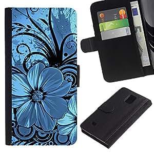 LASTONE PHONE CASE / Lujo Billetera de Cuero Caso del tirón Titular de la tarjeta Flip Carcasa Funda para Samsung Galaxy Note 4 SM-N910 / Blue & Black Floral