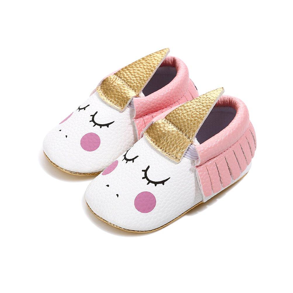 EDOTON B/éb/é Fille Chaussures de Licorne avec Bandeau Cadeau Ensemble pour Anniversaire Bambin Fille Semelle Souple Anti-d/érapant Princesse Chaussures