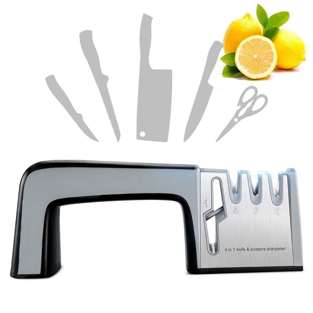 Knife Sharpener Scissor Sharpener, RIVERSONG Multi-functional Home Kitchen Knives Sharpening Tool 4-in-1 Manual System 3 Stage Knife Sharpening Non-slip Base with Ergonomic Design Gift for Mother
