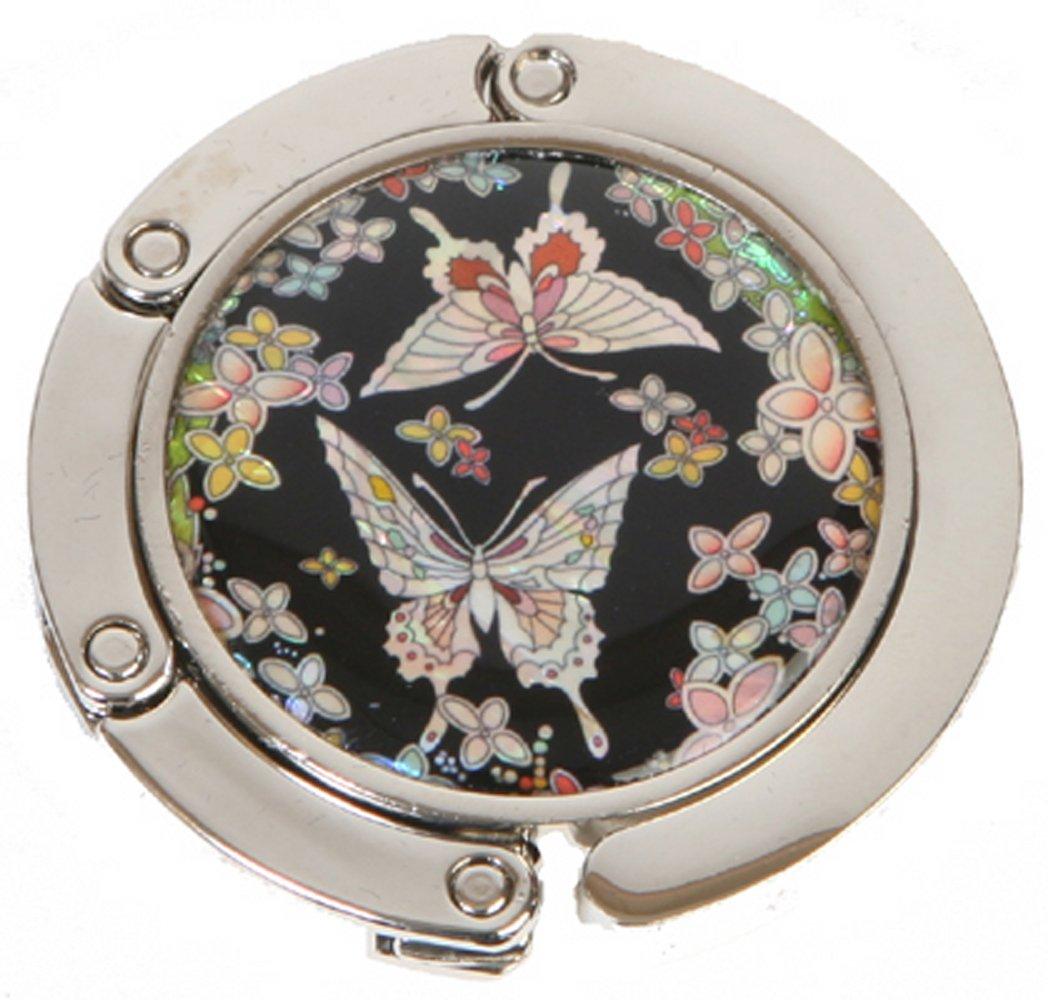 Handtaschenhalter, Perlmutt handgemacht. Schwarz Schmetterling Silver J GABHC4