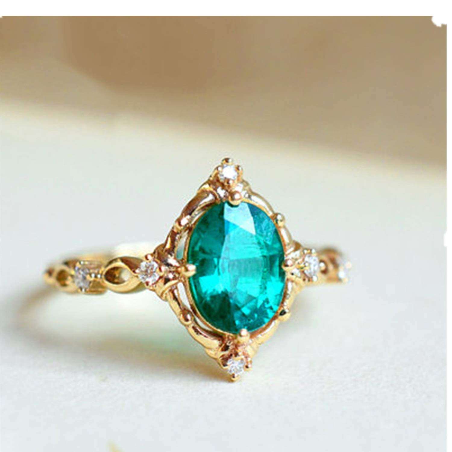 HUAMING Fashion New Egg Shaped Green Sapphire Simple Gold Ring Vintage Stack Boho Rings Knuckle Ring Jewelry for Women (Gold, 8)