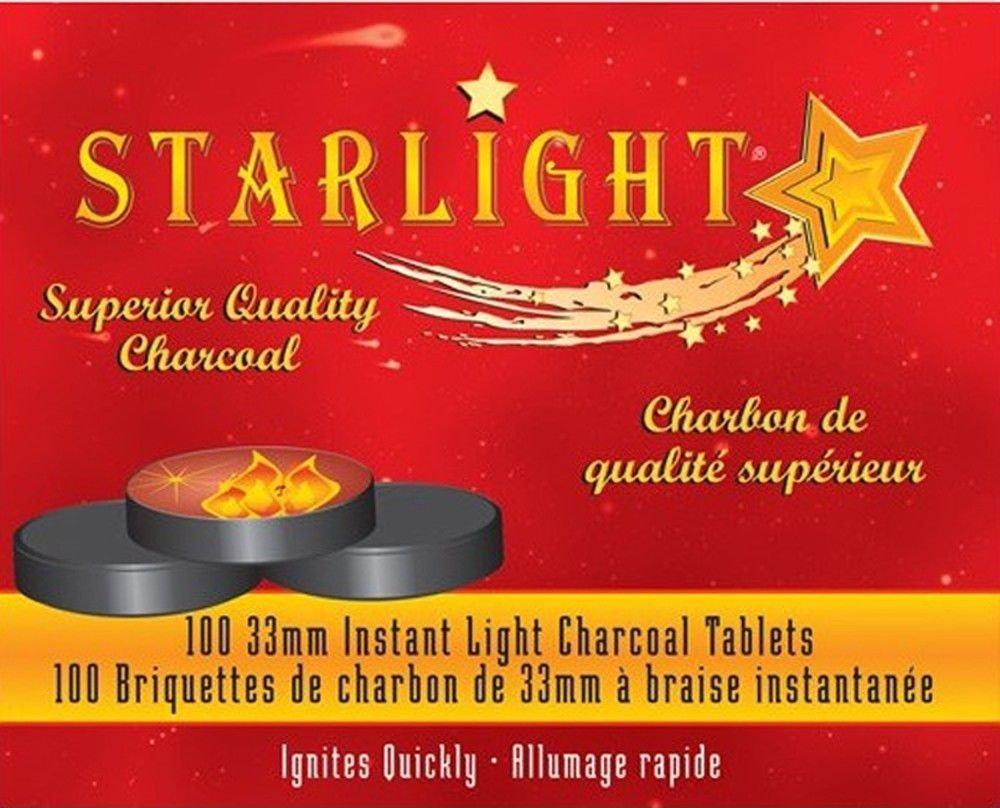 100 Pcs STARLIGHT Hookah Charcoal Quick Lite Shisha coal Incense 10 Rolls