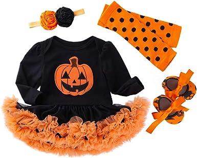 4pcs Baby Girls Tutu Romper Set with Headband Leg Warmers Shoes Halloween Pumpkin Costume Black 0-3 Months