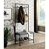 Furniture of America Revo Industrial Pipe-Inspired 34-inch Sand Black Hallway Bench with Coat Hooks