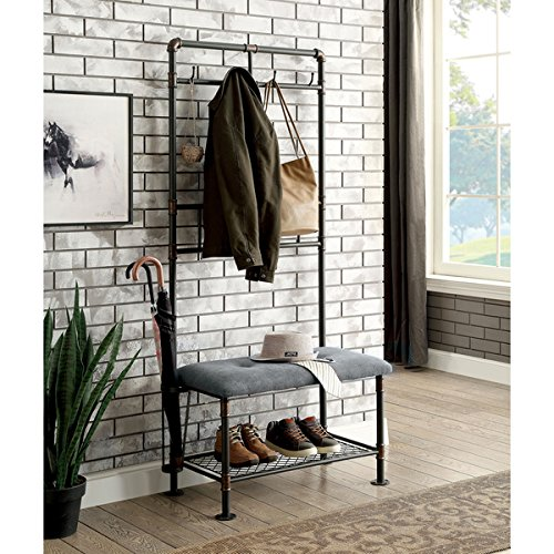 Furniture of America Revo Industrial Pipe-Inspired 34-inch Sand Black Hallway Bench with Coat Hooks (Macy's Patio Furniture Clearance)