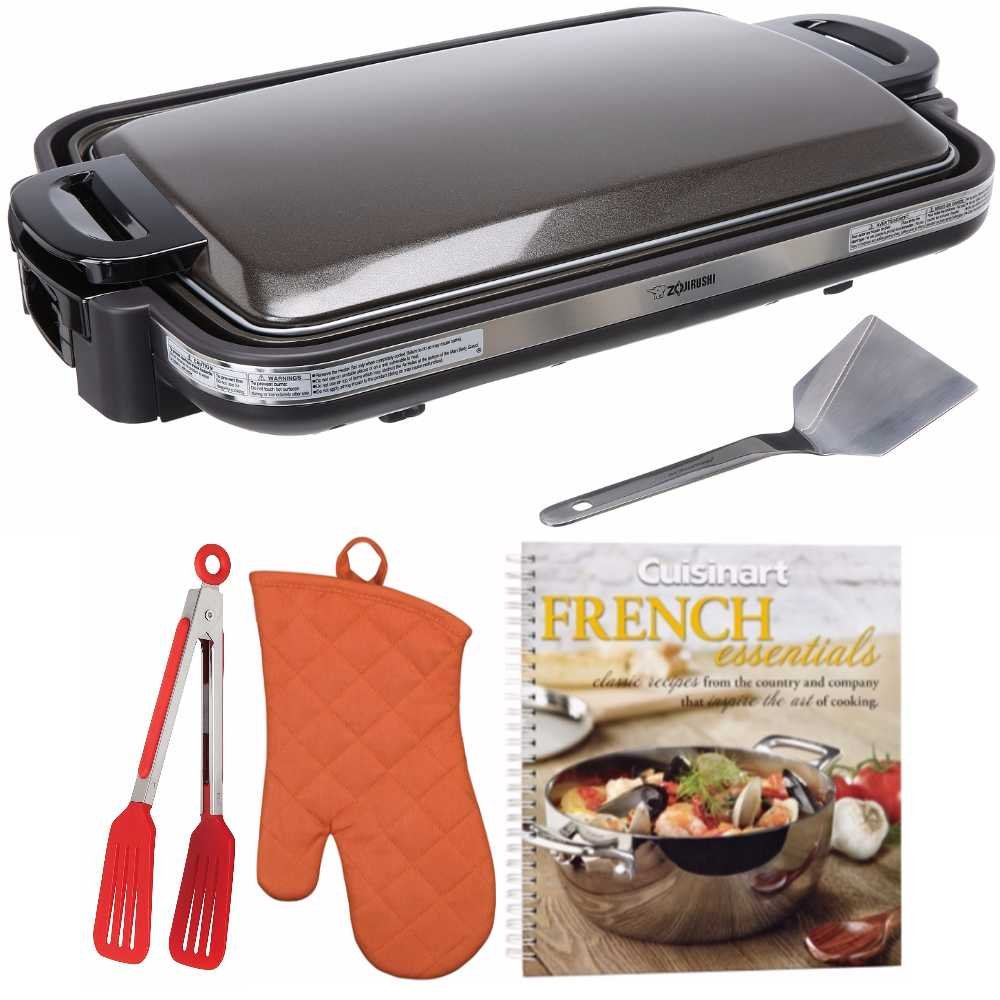 Zojirushi EA-DCC10 Gourmet Sizzler Electric Griddle + Free Cookbook, Oven Mitt and Flipper Tongs