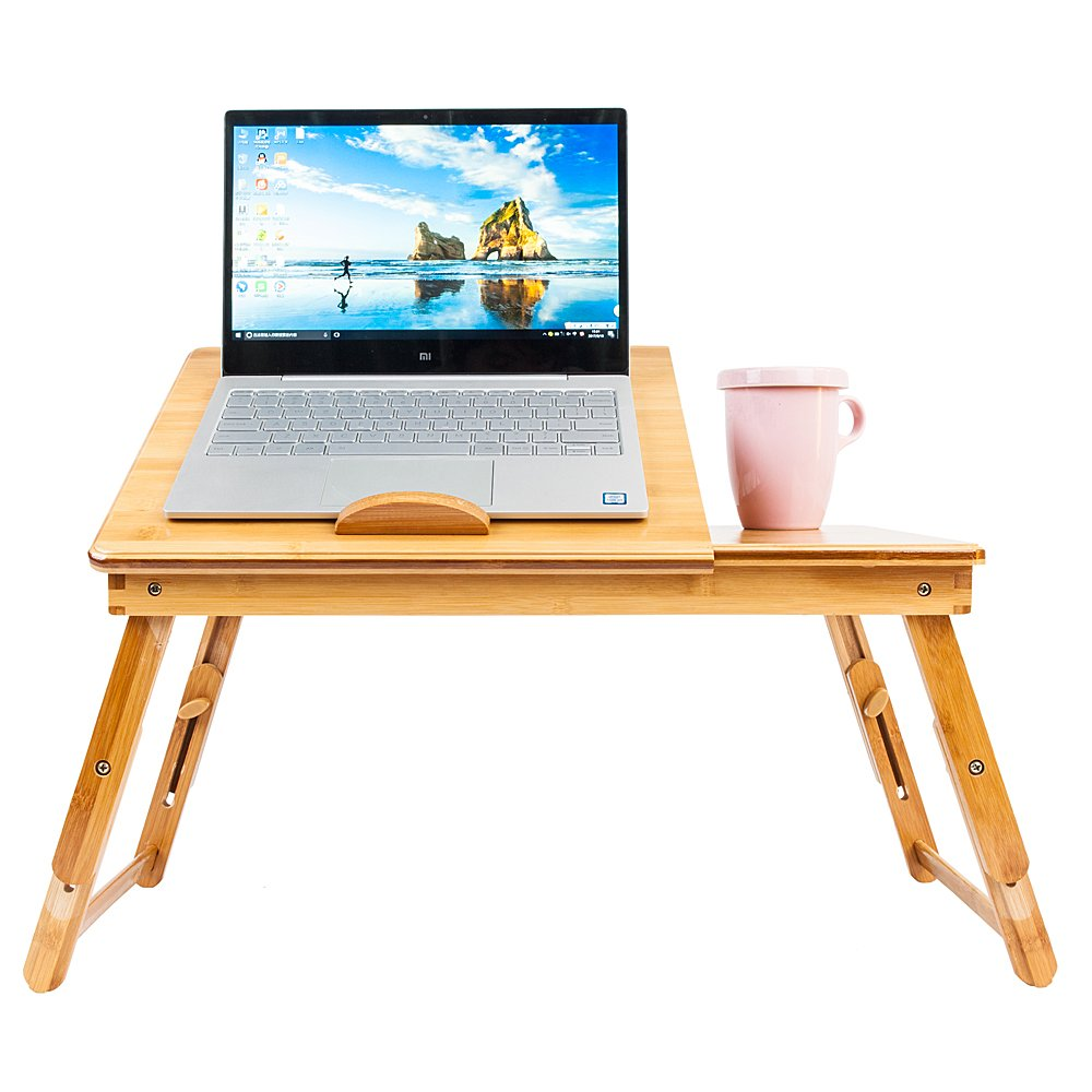 Adjustable Laptop Desk Bamboo Table with Foldable Breakfast Serving Bed Tray w' Drawer Tilting Top