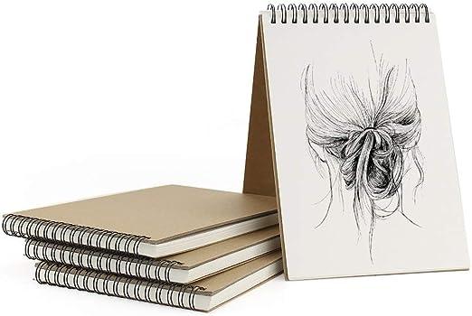 VEESUN Bloc de Dibujo A5, 4Pcs Cuadernos de Dibujo Bonitos con Tapa Dura 30 Hojas DIY Libros de Visitas para Escribir Dibujo Adecuado para Lápiz Acuarela Dibujo Escritura Artistas, 160 GMS Apaisado: