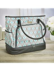 Fit & Fresh Voyager Travel/Commuter Tote Bag with Insulated Section for Lunch, Snacks and Drinks, Carry On, Zippered...