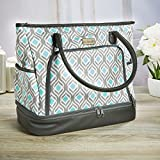 insulated lunch tote zippered - Fit & Fresh Voyager Travel / Commuter Tote Bag with Insulated Section for Lunch, Snacks and Drinks, Carry On, Zippered Shoulder Bag, Grey Aqua Leaf Drop
