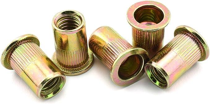 HJ Garden 30pcs #10-24 Rivet Nut Carbon Steel Zinc Plated Flat Head Metric Thread Rivnut Inserts Nutsert Assortment