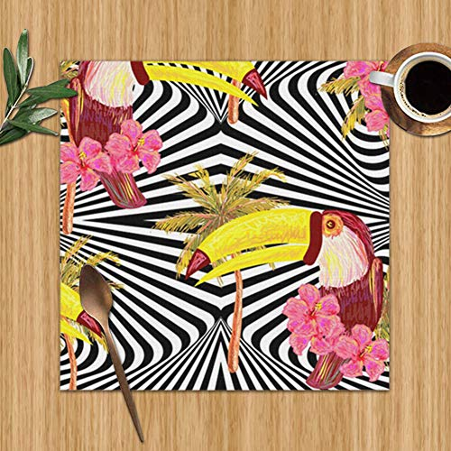 Jungle Toucan Exotic Bird Wildlife Botanical Set Of 4 Placemats For Dining Table,Premium Reusable Place Mates,Plastic Placemats,Wipe Clean Placemats,Comic Place Mat,Dining Placemats(12 X 12 Inch) (Patio Australia Back Ideas)