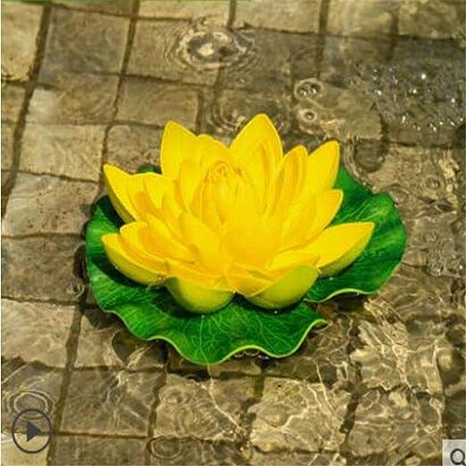qnmbdgm Decoracion Patio del Jardín Simulación Creativa Lotus Resina Hoja Rana Flotador Adorno Agua Peces Tanque Decoración del Hogar Fake Lotus Park Pond: Amazon.es ...