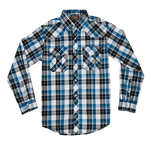 Men's Casual Long Sleeve Plaid Shirt with Pearl Snaps (White/Blue #17,XL)