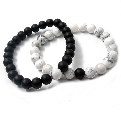 a1e8373ca08f 2 pulseras de turquesa negras de ágata blanca mate, de larga distancia,  para parejas