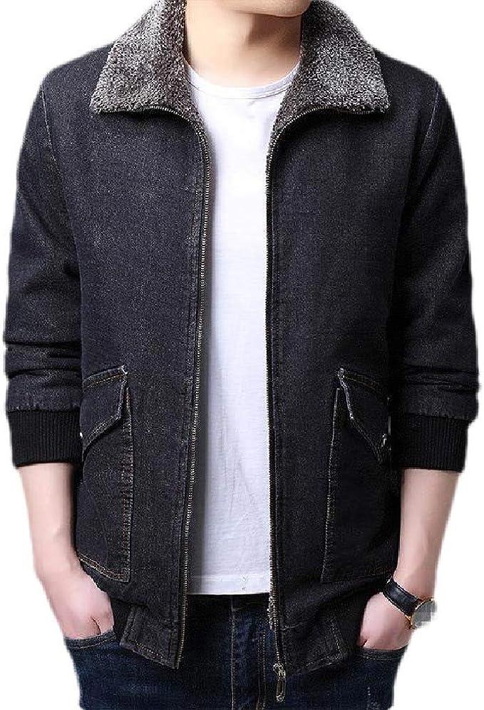 Wilngo Men's Lapel Thick Sherpa Zip Up Denim Jacket Jean Coat with Fleece Lined