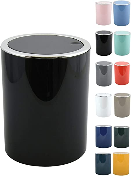 MSV Bad Serie Aspen Design Kosmetikeimer Bad Treteimer Schwingdeckeleimer Abfallbeh/älter mit Schwingdeckel 6 Liter /ØxH : ca 18,5 x 26 cm Pastell Petrol