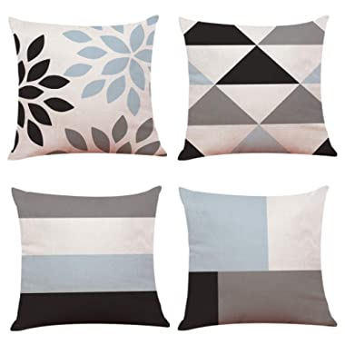 Youngnet Blue and Cream Geometric Throw Pillow Covers 18x18 inch Cotton Linen Cushion Cases Home Decor, Set of 4