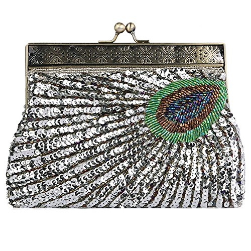 Evening Party Bags Handbag Sequin NVBAO 14 X 4cm Dinner Antique Peacock X Beaded silver Clutch Purse£¬22 Vintage CXCwvq8