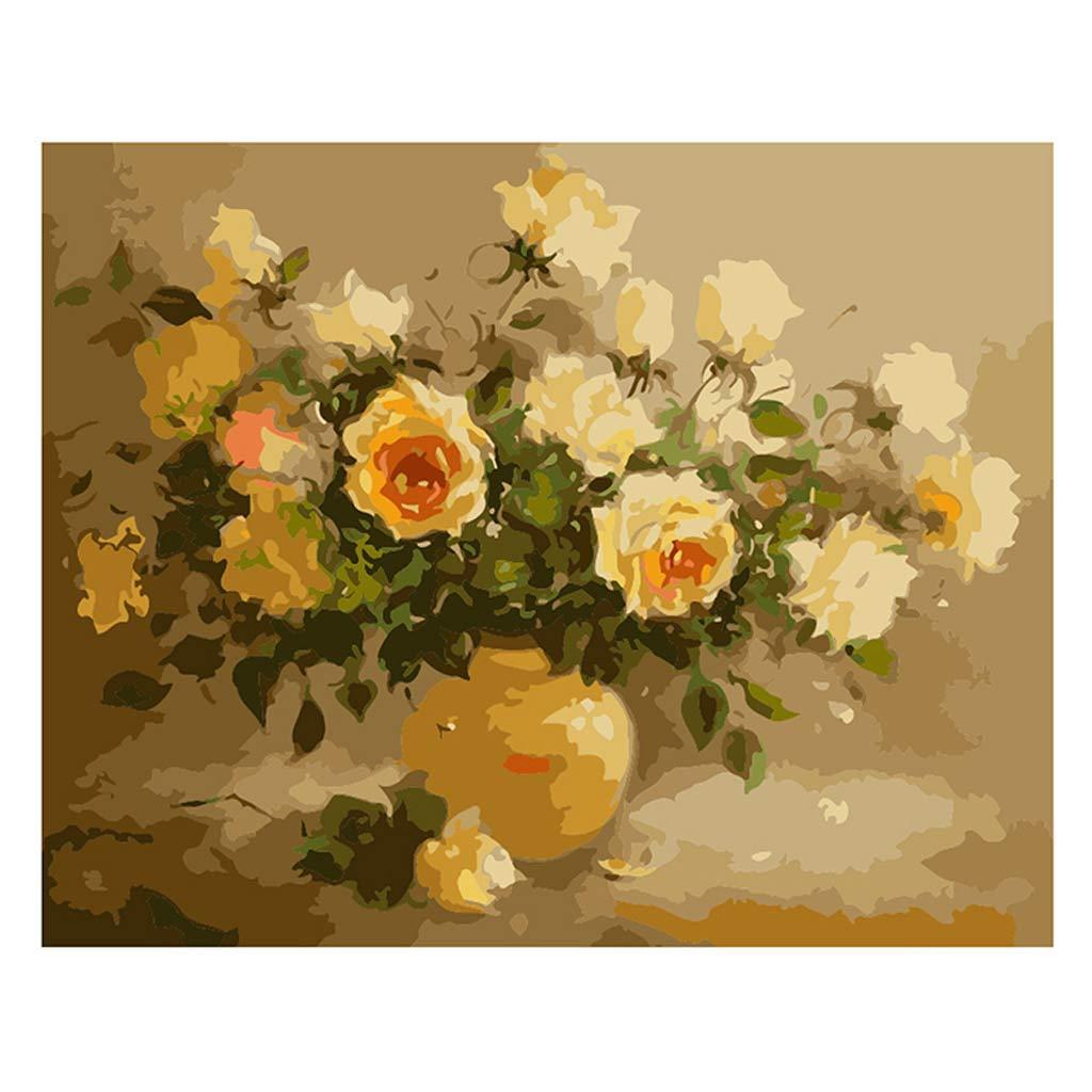 shiliqiang fiori fai da te digitale pittura ad olio pittura per numero di pezzo di tela Décor a casa senza cornice