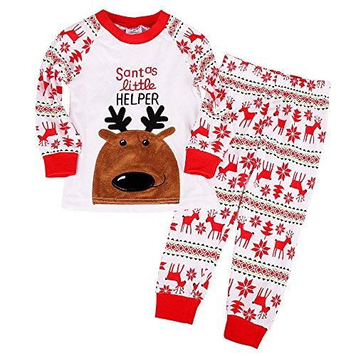bbc437ae5d7c9 Backbuy Bébé Enfant Garçon Fille Long Blanc Pyjama Vêtements de Nuit Joyeux  Noël Santas Little Helper Noël Cerf Wapiti  Amazon.fr  Vêtements et  accessoires