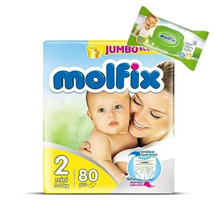 "Pañales tamaño 2 ""Mini"" Molfix bebé pañales Jumbo Pack 80 pañales + 40"