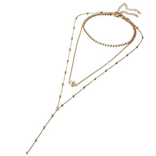 ca251fcbc954 Bishilin gargantillas rígidas baratas Abalorios de perlas collar de múltiples  capas colgantes urna  Amazon.es  Joyería