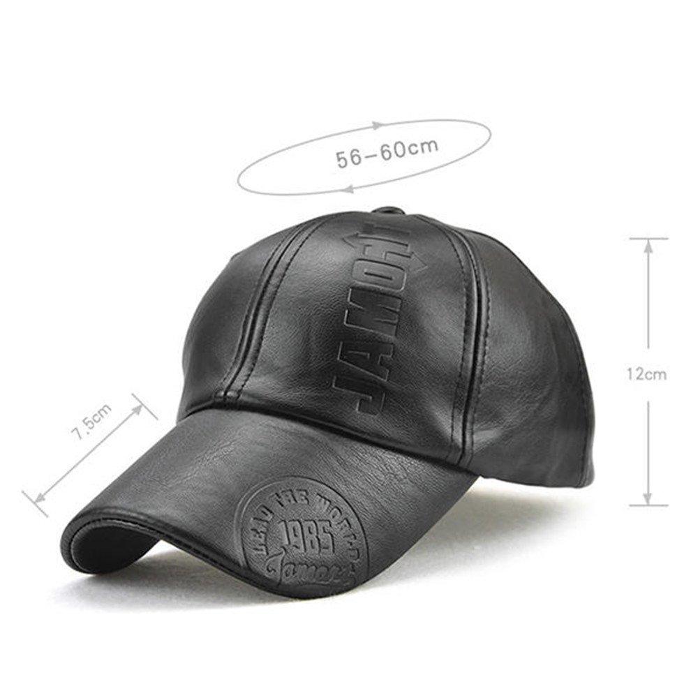a5748887af0 KANWEI Mens Letter Leather Warm Baseball Cap Adjustable Outdoor Sport  Snapback Hat (Black) at Amazon Men s Clothing store