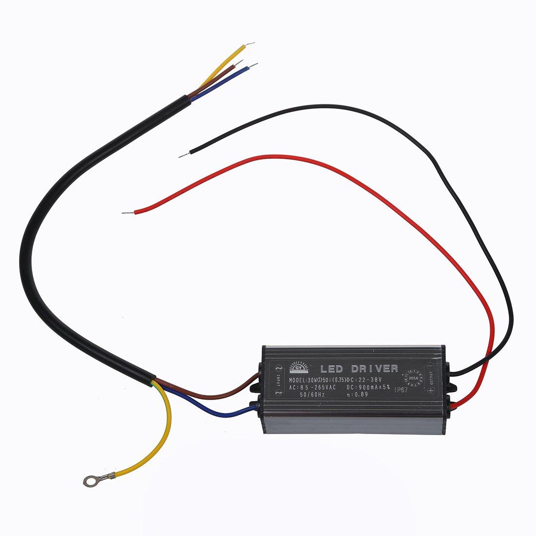 SODIAL(R) LED Alimentatore Driver Corrente Costante DC30-36V 900mA 30W Impermeabile IP6 020669