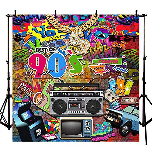 MEHOFOTO Best of 90s Themed Party Decoration Photo Studio Booth Background Graffiti Banner Backdrops for Photography 6.5x6.5ft