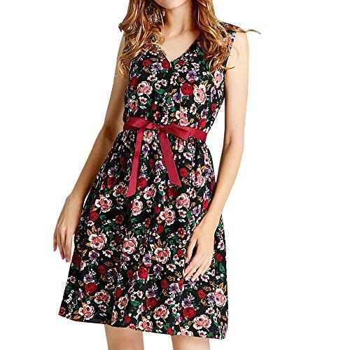 Emimarol Womens Dress Casual V-Neck Sleevless Dress Floral Print Belt Bandage Dress Mini Tank Dress Party Evening Dress Black