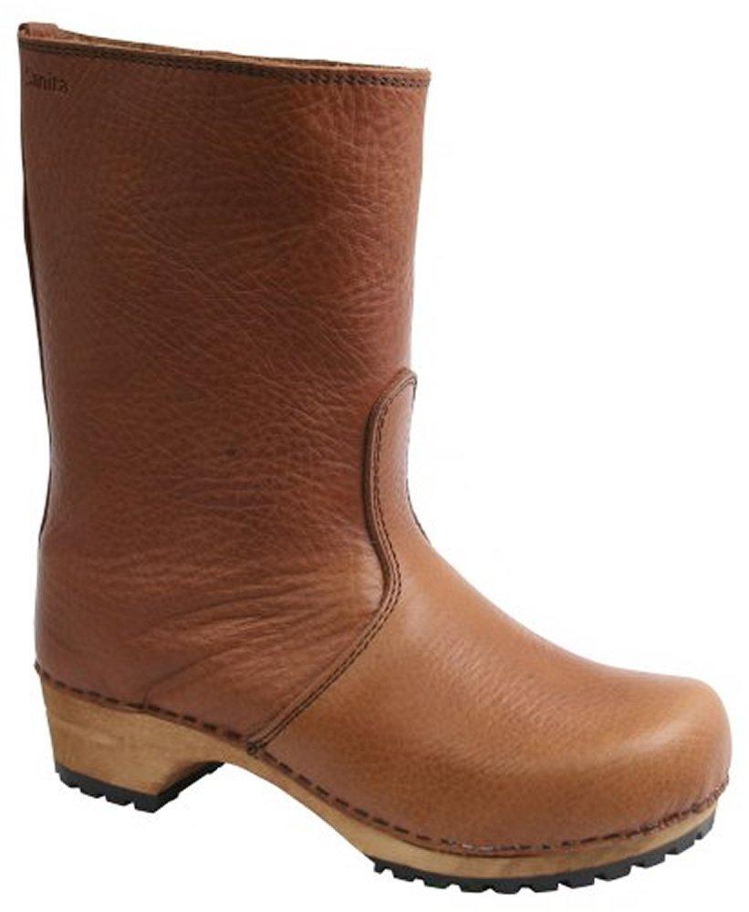Sanita Puk' Milled Leather Clog Boots (Art: 456451) - Cognac 39 by Sanita