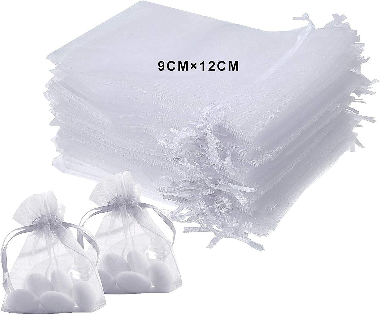 LURICO 9x12cm Bolsitas de Tela para Regalos, 100 Piezas Blanco Bolsas de Organza de Regalo para Boda Favores y Joyas
