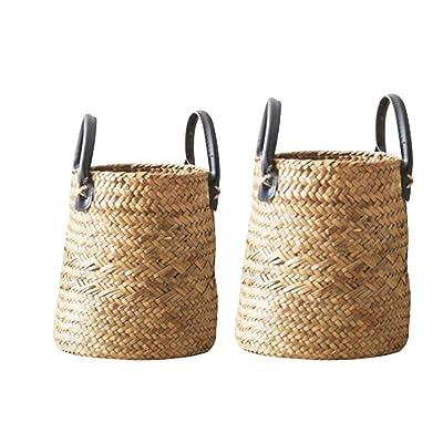 Belly Basket, 2pcs Set Seaweed Rustic Woven Vase, Floor Flower Basket, Dry Flower Basket, Living Room Creative American Decorative Flower Pot Storage Basket: Garden & Outdoor