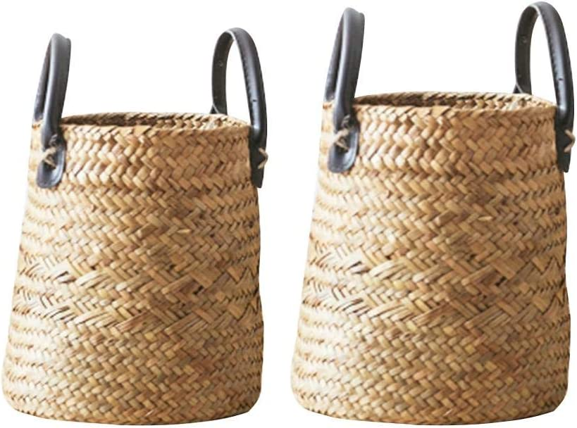 Storage Basket (2PCS/Set) Seaweed Woven Vase Floor Dry Flower Basket - Living Room Innovative American Style Decorative Lightweight Handmade Foldable Seagrass Belly Laundry Basket