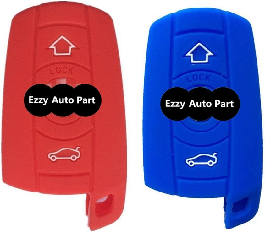 Red and Blue Rubber Silicone Remote Key Case Cover Chains Bag Key Fob Skin Covers for Bmw 128i 328i 328i Xdrive 335i 335i Xdrive 650i Fob