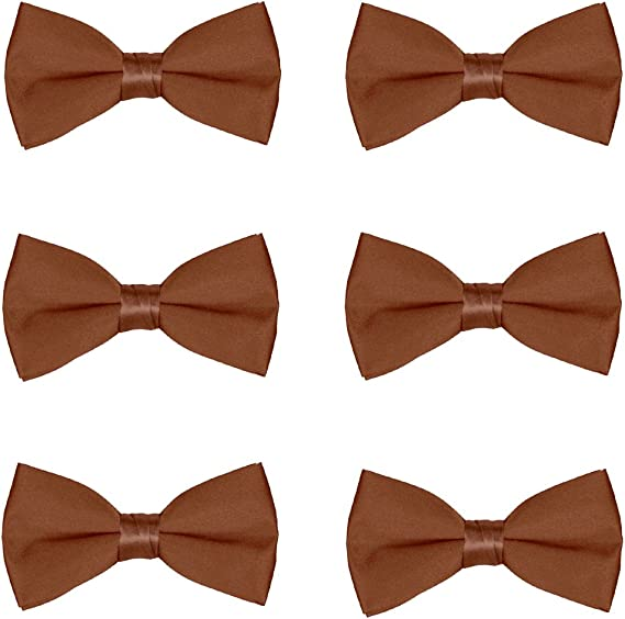 HDE Kids Bow Ties Wedding Party 5-Pack Solid Color Adjustable Formal Neckties