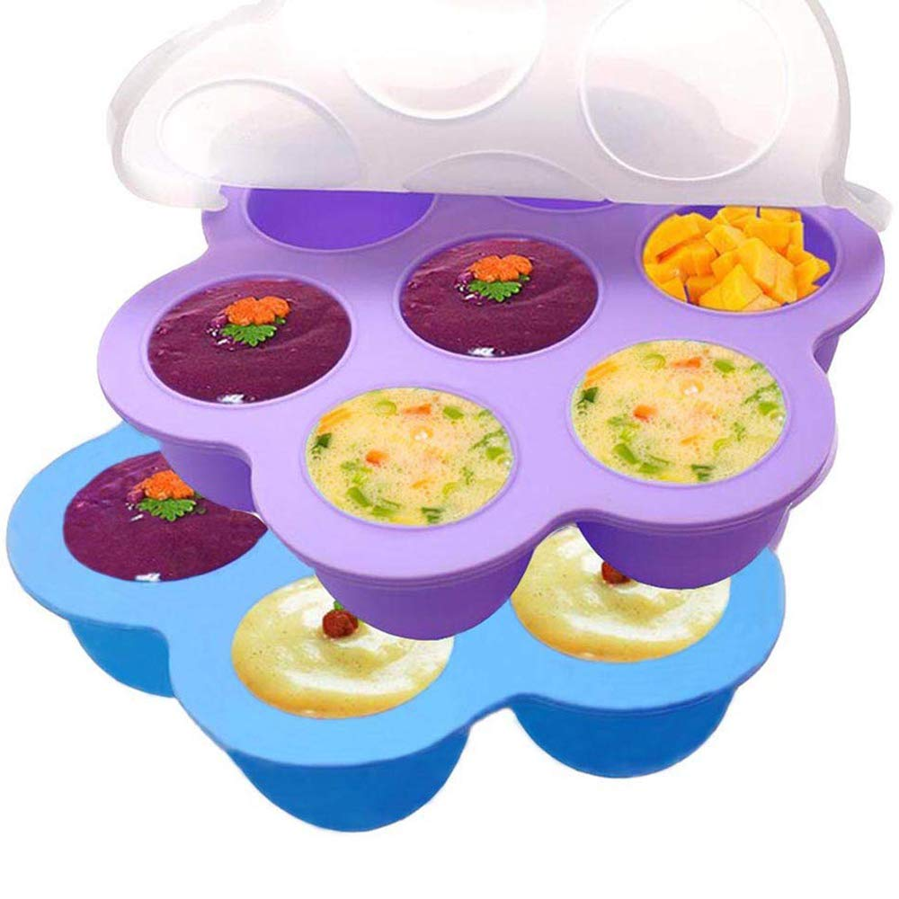 Bonfook Silicone Egg Bites Molds For Instant Pot Accessories (2 Packs) - Fits 5,6,8qt Pressure Cooker,7Cups Reusable Food Storage Container With Silicone Lids,Freezer Molds Ice Trays(Blue+Purple)