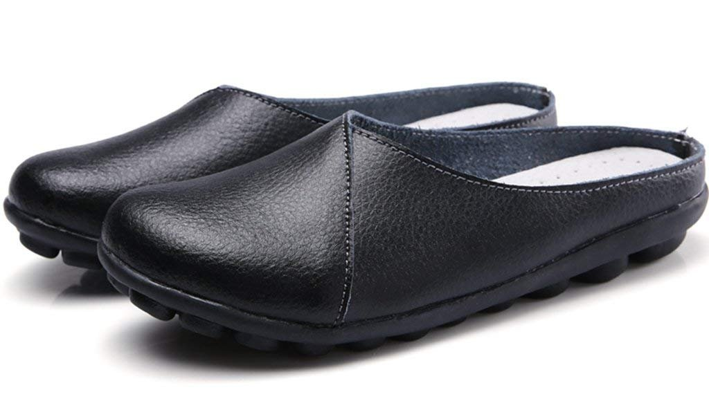 SNIDEL Women's Leather Loafers Slip on Flats Mule Walking Slippers Closed Toe Slide Sandals for Autumn Black9 B (M) US by SNIDEL (Image #3)