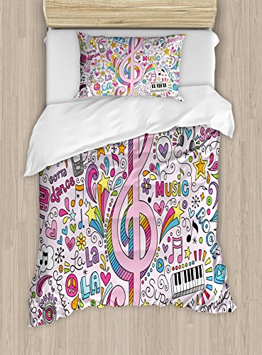 (Ambesonne 70s Party Duvet Cover Set Twin Size, Music Clef Groovy Psychedelic Doodles Hand Drawn Hippie Symbols Signs Artwork, Decorative 2 Piece Bedding Set with 1 Pillow Sham,)