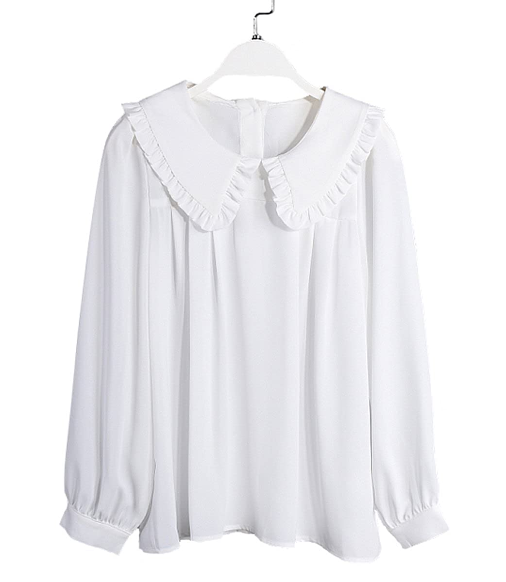 Edwardian Style Blouses Purpura Erizo Womens Flounce Collar Button Down Back Chiffon Blouse $24.99 AT vintagedancer.com