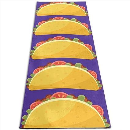 Amazon.com: Tacos Yoga Mat Non Slip Exercise Mats for Home ...