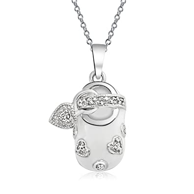 Amazon Com Baby Shoe Charm Pendant Gift For New Mother Women White