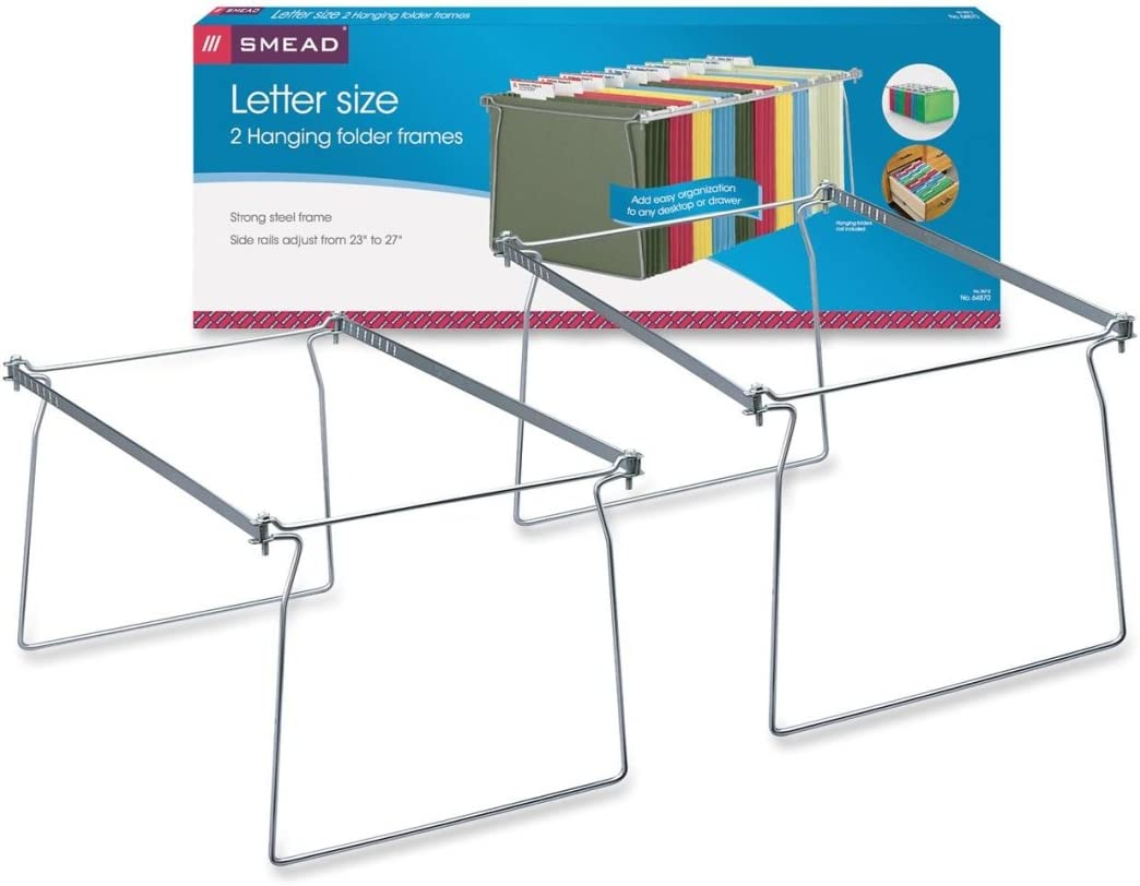 Smead Steel Hanging File Folder Frame, Letter Size, Gray, 2 per Pack (64870)